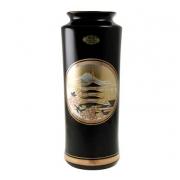 Ваза 25 см черная прямая Пагода в сакуре (silver)