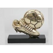 Мяч и бутса на подставке золотистый 13х14 см.