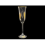 Бокал для шампанского Флора Золотые листья (набор 6 шт.)
