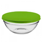 Салатник с крыш. «Шеф», стекло,пластик, 602мл, D=140,H=62мм, прозр.,салатов.
