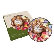 Подставка керамическая Кошки (рыжая с лентой)