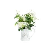 Декоративные цветы Розы белые в жестяной вазе (кувшин)