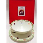 Набор из двух предметов: Тарелка + салатник «Алиса» зеленый кант