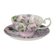 Чашка с блюдцем (розовая) Райский сад в подарочной упаковке