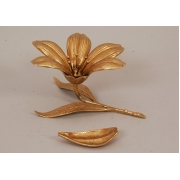 Пепельница-цветок золотистый 13х21 см.