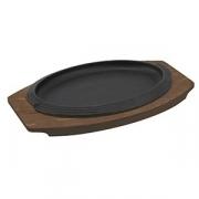 Сковорода для фахитос овальная, чугун,дерево, H=34,L=310,B=190мм, черный,коричнев.