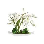 Декоративные цветы Орхидея белая на керамической подставке
