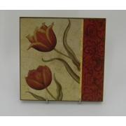 Картина без рамки «Тюльпан с декором справа» 20*20