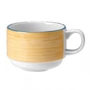 Чашка чайная «Рио Еллоу»; фарфор; 200мл; белый,желт.