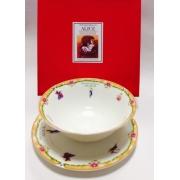 Набор из двух предметов: Тарелка + салатник «Алиса» оранжевый кант