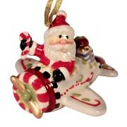 Подвеска 5,7 см Дед Мороз на самолете