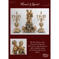 Часы на мраморе «Дети с ракушкой» золото 55х37 см.