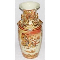 Бежевая ваза с золотым узором 61 см. Керамика