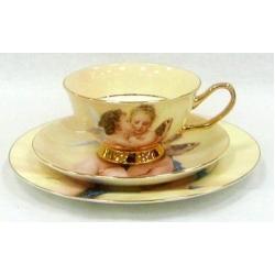 Набор чашка, блюдце, десертная тарелка «Ангелочки»