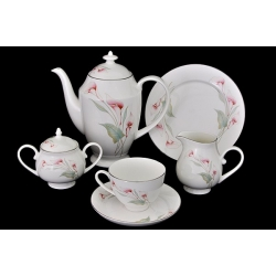 Чайный сервиз «Розовые каллы» 21 предмет на 6 персон