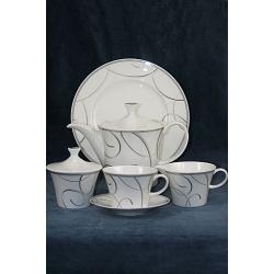 Сервиз чайный 23 предмета на белом черный узор