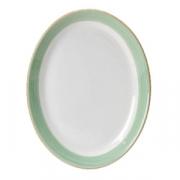 Блюдо овальное «Рио Грин», фарфор, L=30.5см, белый,зелен.