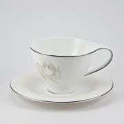 Набор 6 чайных пар 260мл «Жемчужная роза»