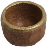 Миска-мини светлый дуб, отделка золотом D=100, H=65мм