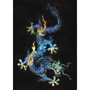 Дракон(синий) с жемчужиной, 50х70 см, 5528 кристаллов