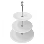 Этажерка 3-х ярусная для десерта «Кунстверк» d=18,22,28см, фарфор,сталь, H=42см, белый,металлич.