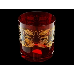 Стакан для виски Рубин с золотыми вензелями