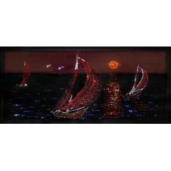 Кораблики в море, 30х70 см,1490 кристаллов