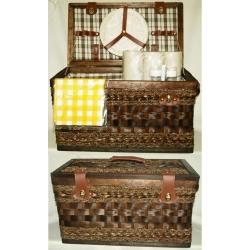Набор для пикника из коричневого бамбука на 6 персон (бежевая клетка)