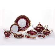 Сервиз чайный 210 мл. на 12 перс. 55 пред. «Ювел красный 876»