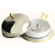 Круглое блюдо для горячего с крышкой,фарфоровой вставкой, ложкой и вилкой «Dubai Gold/Silver»