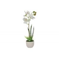 Декоративные цветы Орхидея белая в керамической вазе