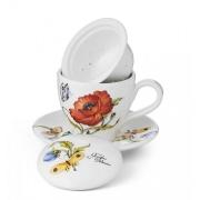 Чашка с блюдцем с керамическим ситечком и крышкой 13см «Ботанический сад»