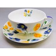 Чайная пара «Желто-синие цветы» 350 мл