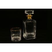 Набор: штоф(0,85л) + 6 стаканов для виски(0,25л) Пиза золото