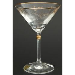 Рюмка для мартини 180 мл «Глория» панто+втертое золото + золотая кайма по краю рюмки и декорация золотом деталей на ножке