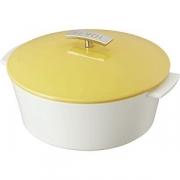 Кастрюля для запекания с крышкой D=26см; белый, желт.