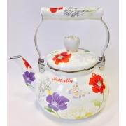 """Японский эмалированный чайник на 2 литра,серия """"Баттерфляй"""""""