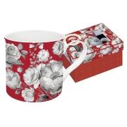 Кружка Цветовая палитра (красная, цветы) в подарочной упак.