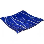 Блюдо «Оптик» 30*30см голубое