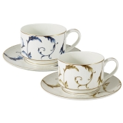Набор: 2 чашки + 2 блюдца для чая Элегия и Элегия Голд