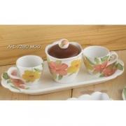 Набор: 2кофейные чашки+сахарница на подносе, Дл 30см