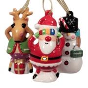 Подвеска, 9,5 см, 3 шт, Дед Мороз, Олененок, Снеговик