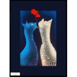 Влюбленные котики, 30х40 см, 634 кристаллов