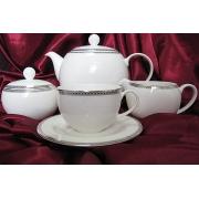 Сервиз чайный на 6 персон, 17 предметов. «Серебрянная вышивка»