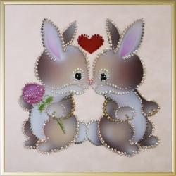 Влюбленные кролики.Размер картины:25х25