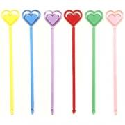 Мешалка «Сердечки» [40шт], пластик, H=215,L=215/85,B=45мм, разноцветн.
