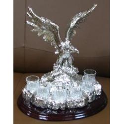 Набор для водки «Орел» Посеребренный металл