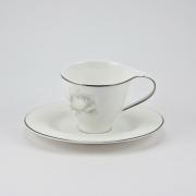 Набор 6 кофейных пар 100мл «Жемчужная роза»