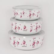 Набор из 3-х лотков с крышками «Мари Клер» розовый
