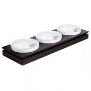 Набор салатников на подставке с крышкой [3шт]; пластик; D=23см